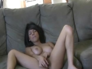 Gorgeous Big Tits Babe Caught Masturbating On Couch
