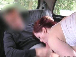 No panties upskirt in fake taxi