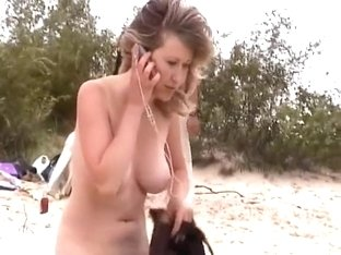 Stripping at the beach and teasing