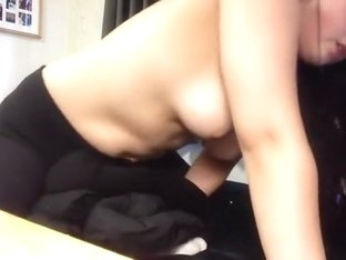 Nerdy girl practices her cowgirl skills by humping her pillow