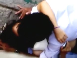 Voyeur tapes asian students having missionary sex in public on the side of the river