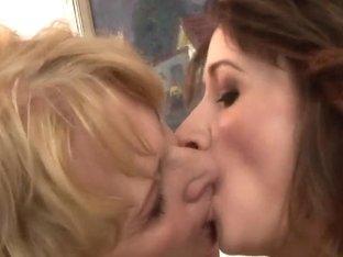 Teen and mature lesbian women fooling around