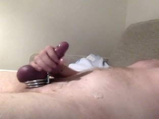 Handsfree cumshot with 3 cockrings & then another cumshot without the rings
