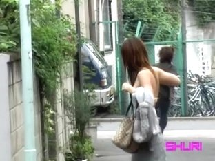 Stunning Japanese brunette is minding her own business during top sharking