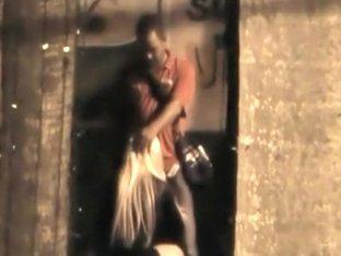 Leggy slut spied sucking dick in an alley