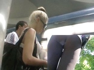 Fitting leggings on a blond