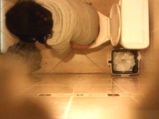 Spy camera secretly installed in toilet ceiling