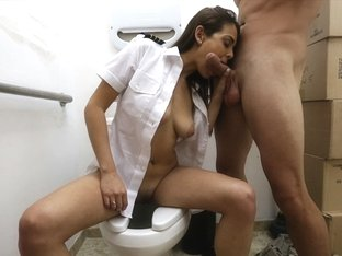 Attractive Latina stewardess gets fucked in the comfort room