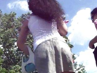 Long legged hottie gets an underskirt video on spy cam