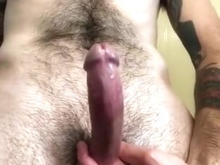 Stroking oiled cock to HUGE cumshot