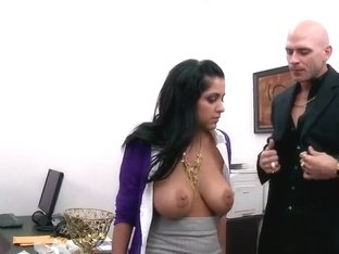 Delicious chick with cool boobs assfucked in office