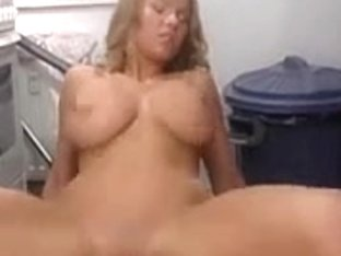 Pretty breasty golden-haired enjoys a jock in the kitchen