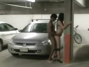 interracial public garage sex