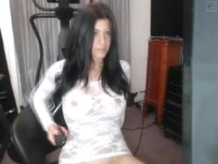 Sheer white dress and naked pussy