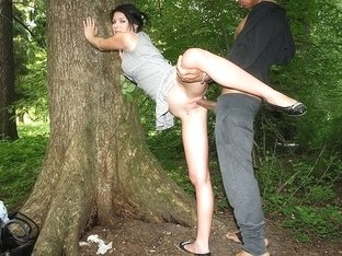Hot darksome brown fucked in the forest