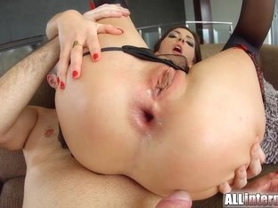 AllInternal Frech anal creampie for brunette stunner
