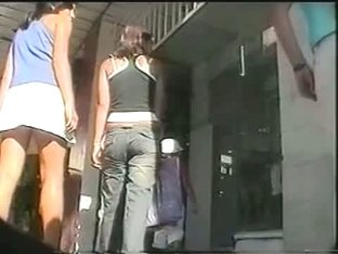 Extremely hot teen ass caught on street spy cam video