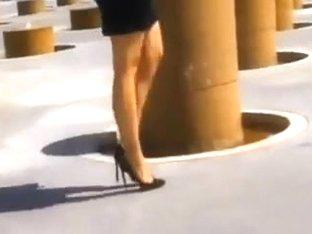 High heels in Morocco  shiny black stilettos under the sun