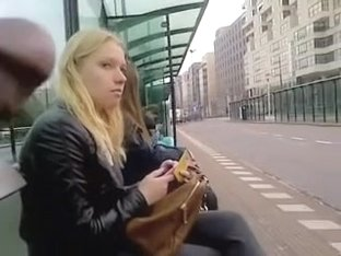 I approached cute blonde and flashed her my dick in public