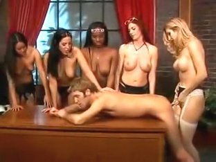 5 Girls Fuck A Guy With Strap On's