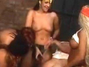 Lascivious fella receives his butt taken by honeys