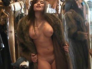 We pay her nice to try this coat naked