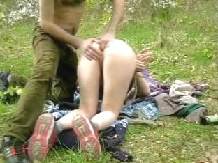 Amateur bondage sex in the outdoors