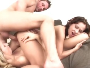 Hot threesome with two  beautiful college girl girls