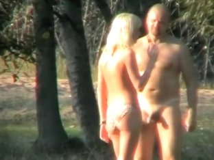 Blonde's seduction of a nudist guy