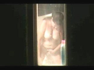 Spying my mom through window bathroom. Great view