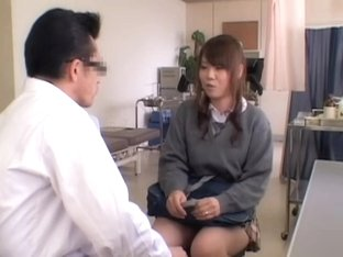 Playful Jap teen fingered during kinky medical exam