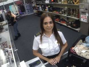 Attractive and brunette latina stewardess gets hammered by Shawn