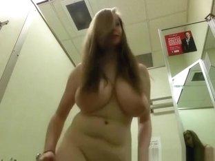 Huge natural big tits girl in change room