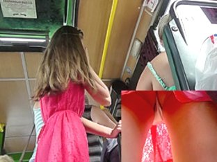 Public upskirts of the hot girl in the red a-line skirt