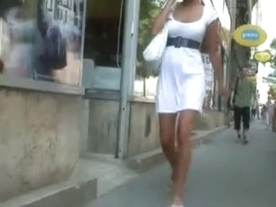 Upskirt And Sheer White Suit