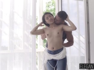 Innocent asian babe May Thai takes it in her tight asshole