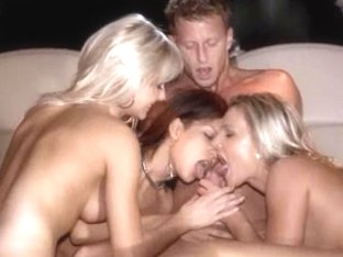 cute group sex in limo