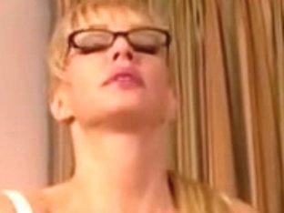 Breasty secretary masturbating