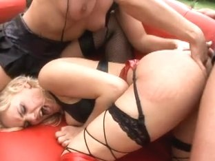 Hawt blond milfs take up with the tongue slits and receive screwed by ripped boy-friend