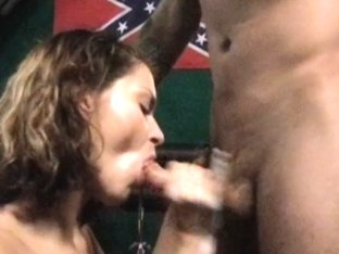 Thick cum right on girlfriend's merry melons