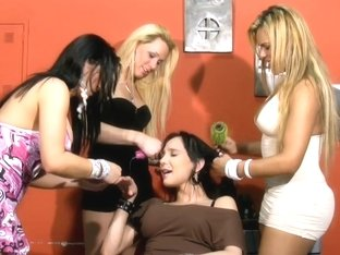 Blonde t-girls get their butt holes stuffed with big dicks