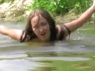 Delicious golden-haired wife is caught on movie scene by his lusty husband in a public lake
