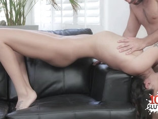 Brunette cowgirl hard fuck and cum swap