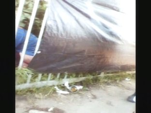 Dirty amateurs caught on candid voyur video pissing outdoor