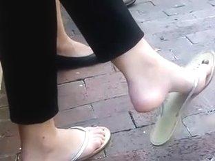 Candid Brunette Feet Shoeplay Dangling Flip Flops Outside