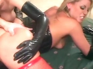 2 blondes in latex and nylons share a schlong