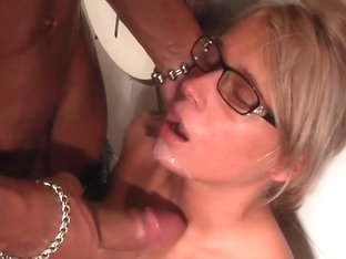 Sexy blondie goes for crazy sex in public restroom