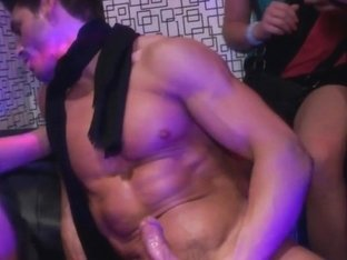 Busty amateur babe fucks stripper in real club