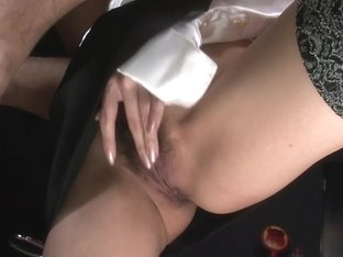 Wild barmaid Rino Asuka fondles her pussy while sucking cock