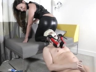 strapon leather leggings cum eating